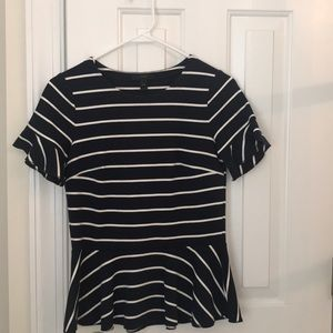 Navy blue and stripe peplum shirt